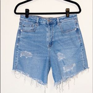 AE American Eagle Hi Rise Mom Jeans Frayed Sz 10